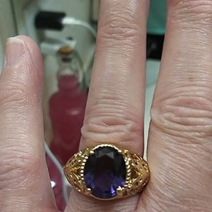 NWOT gold-plated amethyst ring